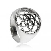 Stříbrný prsten se symbolem Semene života
