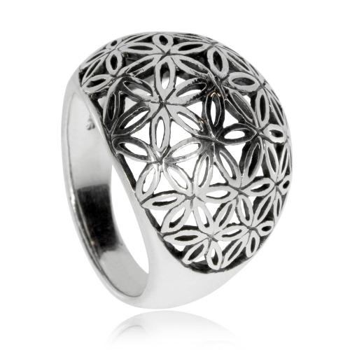 Stříbrný prsten s motivem Květu života