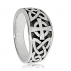 Stříbrný prsten s keltským křížem a smyčkami