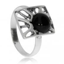 Stříbrný prsten - Matovaný obdélník s onyxem
