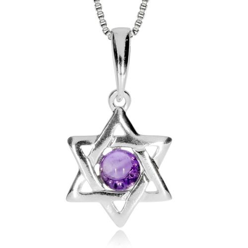 Stříbrný přívěsek - Šesticípá hvězda s ametystem