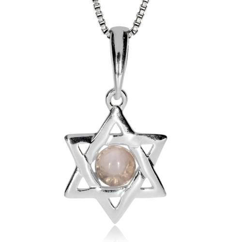 Stříbrný přívěsek - Davidova hvězda s růženínem