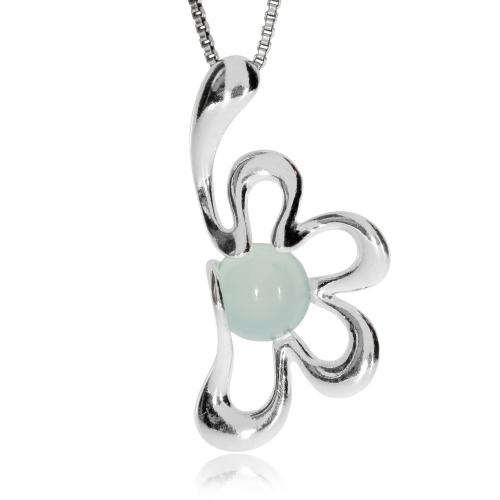 Stříbrný přívěsek - Květ s kulatým achátem
