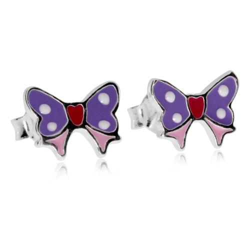 Dětské stříbrné náušnice - Fialový motýlek