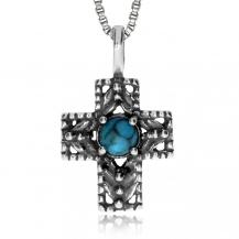 Stříbrný přívěsek - Křížek s rekonstruovaným tyrkysem