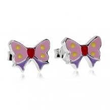 Dětské stříbrné náušnice - Malí růžoví motýlci