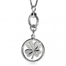 Stříbrný náhrdelník se čtyřlístkem v broušeném kroužku