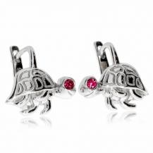 Dětské stříbrné náušnice - Želvičky s růžovým kamínkem