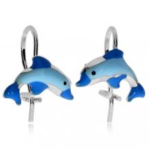 Dětské stříbrné náušnice - Modrý delfín
