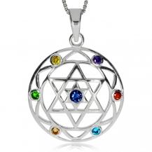 Stříbrný přívěsek s Davidovou hvězdou v kruhu