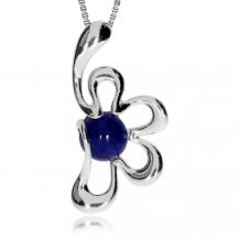 Stříbrný přívěsek - Květina s modrým středem