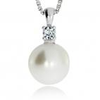 Stříbrný přívěsek - Kulatá perlička se zirkonií