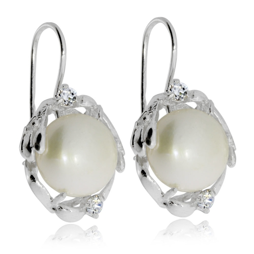 Stříbrné náušnice s říční perlou a zirkonem (kubická zirkonie