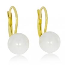 Stříbrné pozlacené náušnice se syntetickými perlami