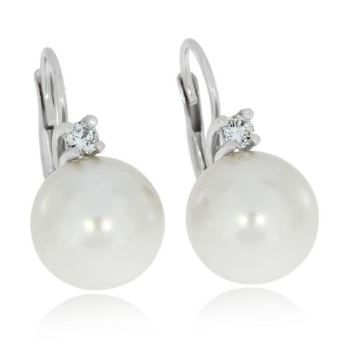 Stříbrné náušnice s větší syntetickou perlou