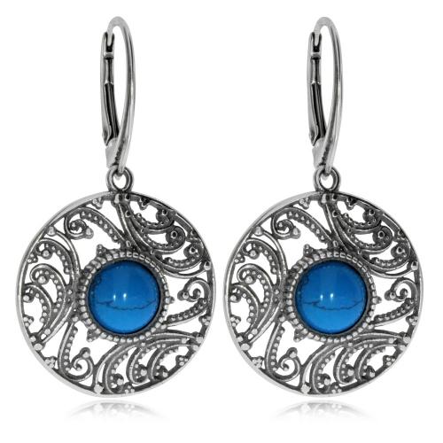 Stříbrné visací náušnice - Kulaté přívěsky s modrým kamenem