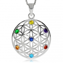 Stříbrný přívěsek - Květ života s kamínky