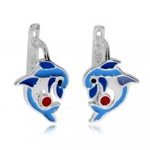 Dětsk stříbrné náušnice - Modrý delfín s míčem