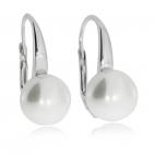 Stříbrné náušnice se syntetickou perlou bílé barvy
