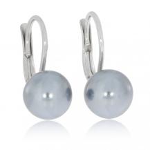 Stříbrné náušnice se šedivou syntetickou perlou