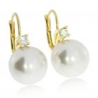 Stříbrné pozlacené náušnice s perlou a kamínkem