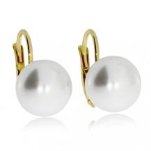 Stříbrné pozlacené náušnice se syntetickou perlou