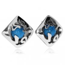Stříbrné náušnice - Čtverec s kulatým tyrkysovým kamenem