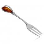 Stříbrná vidlička s pravým jantarem