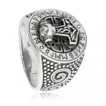 Stříbrný prsten - Thorovo kladivo s runami