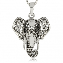 Stříbrný přívěsek - Ozdobná hlava slona