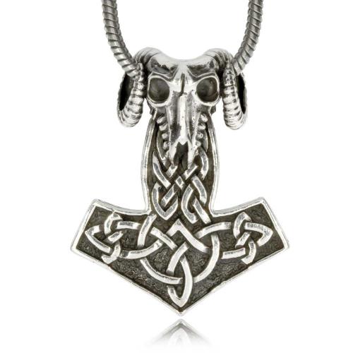Stříbrný přívěsek - Thorovo kladivo s lebkou berana