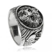 Stříbrný prsten - Lví hlava
