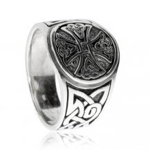 Stříbrný prsten - Keltský kříž v kruhu