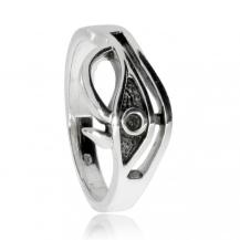Stříbrný prsten s patinou - Horovo oko