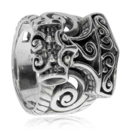 Stříbrný prsten - Thorovo kladivo