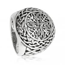 Stříbrný prsten s propleteným keltským křízem