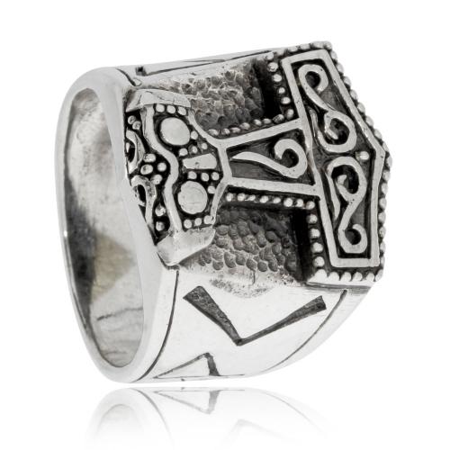 Stříbrný prsten - Thorovo kladivo se smyčkami