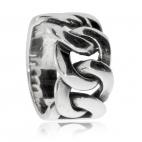 Pánský stříbrný prsten s motivem řetízkových ok