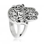 Stříbrný prsten - Hamsa