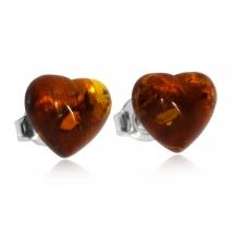 Stříbrné náušnice - Malá srdce z jantaru