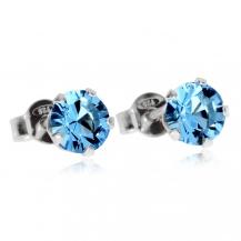 Stříbrné náušnice pecky - Modré kulaté kamínky