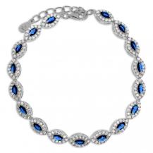 Stříbrný náramek - Modré a čiré kameny kubické zirkonie