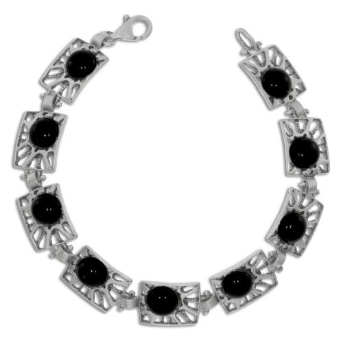 Stříbrný náramek - Obdélné články s onyxem