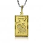 Stříbrný pozlacený přívěsek - Znamení Lva