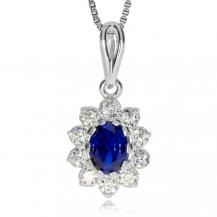 Stříbrný přívěsek - Oválná kytička s modrým kamínkem