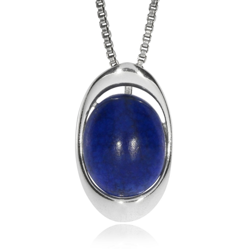 Stříbrný přívěsek - Ovál s lapisem lazuli