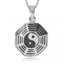 Stříbrný přívěsek - Jin-jang v osmiúhelníku