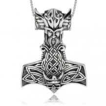 Stříbrný přívěsek - Thorovo kladivo s hlavou muže
