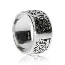 Stříbrný prsten - Širší vzor se smyčkami