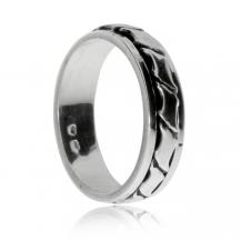 Stříbrný prsten - Otáčivý střed s vlnkami